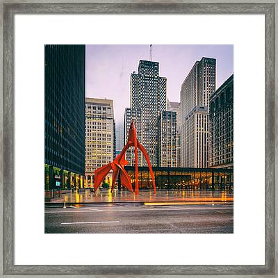 Vintage Photo Of Alexander Calder Flamingo Sculpture Federal Plaza Building - Chicago Illinois  Framed Print by Silvio Ligutti