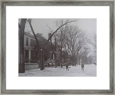 Vintage Photograph 1902 Snowball Fight New Bern Nc Framed Print