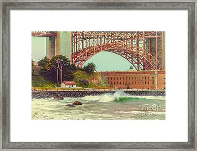 Vintage Photograph Of Fort Point And Golden Gate Bridge - San Francisco California Framed Print by Silvio Ligutti