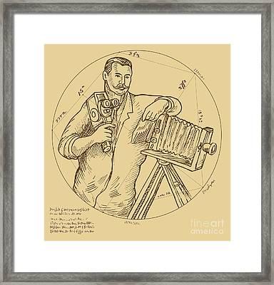 Vintage Photographer Video Camera Framed Print by Aloysius Patrimonio