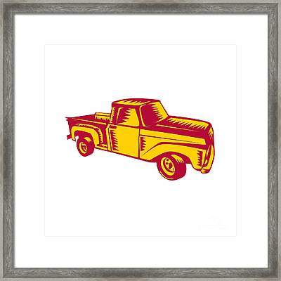 Vintage Pick Up Truck Woodcut Framed Print
