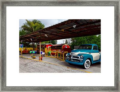 Vintage Pickup At Taco Stand Framed Print by Mountain Dreams