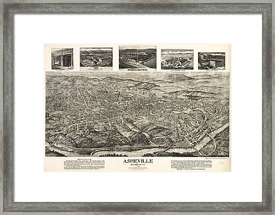 Vintage Pictorial Map Of Asheville Nc  Framed Print by CartographyAssociates