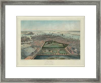 Vintage Pictorial Map Of Boston Ma - 1850 Framed Print by CartographyAssociates