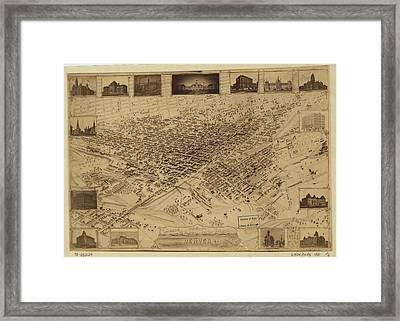 Vintage Pictorial Map Of Denver Co - 1881 Framed Print