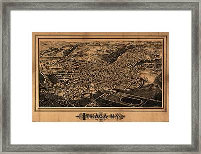 Vintage Pictorial Map Of Ithaca New York - 1882 Framed Print by CartographyAssociates