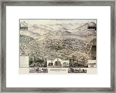 Vintage Pictorial Map Of Prescott Arizona - 1885 Framed Print