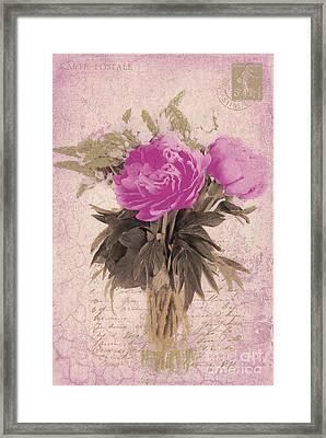 Vintage Pink Peonies Framed Print by Karen Lewis