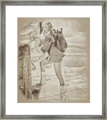 Vintage Pinup Framed Print by John Spirngfield