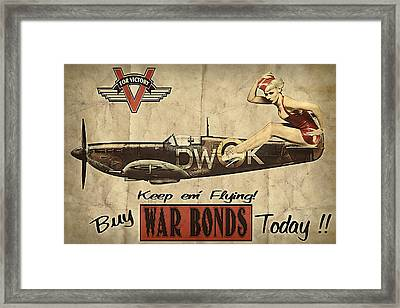 Vintage Pinup Warbond Ad Framed Print by Cinema Photography