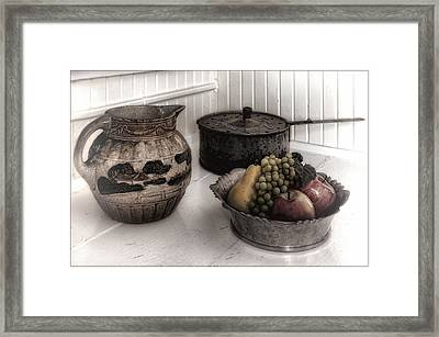 Vintage Pitcher, Pan, And Fruit Bowl Framed Print by Mitch Spence