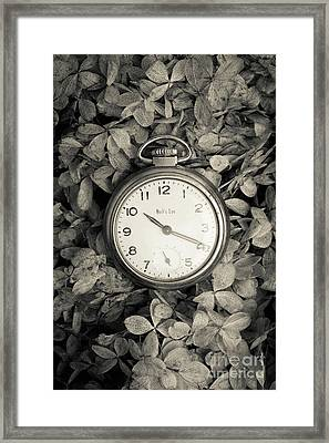 Vintage Pocket Watch Over Flowers Framed Print by Edward Fielding