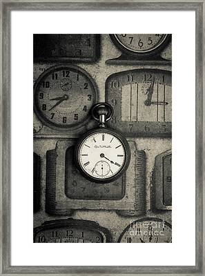 Framed Print featuring the photograph Vintage Pocket Watch Over Old Clocks by Edward Fielding