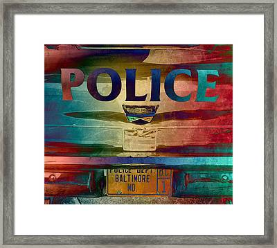 Vintage Police Department Car - Baltimore, Maryland Framed Print