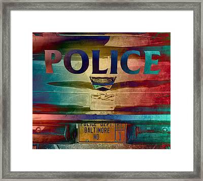 Vintage Police Department Car - Baltimore, Maryland Framed Print