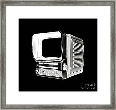 Vintage Portable Television Tee Framed Print by Edward Fielding