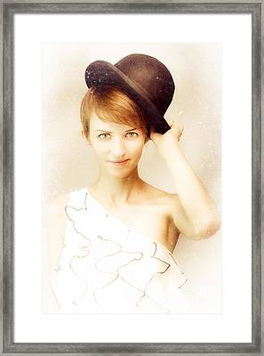 Vintage Portrait In Bowler Hat Framed Print