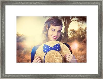 Vintage Portrait Of A Country Pinup Girl Framed Print by Jorgo Photography - Wall Art Gallery