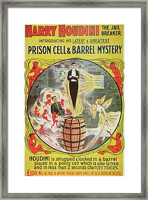 Vintage Poster Advertising A New Escape Act By Houdini  Framed Print