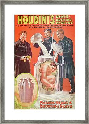 Vintage Poster Advertising Houdini Framed Print