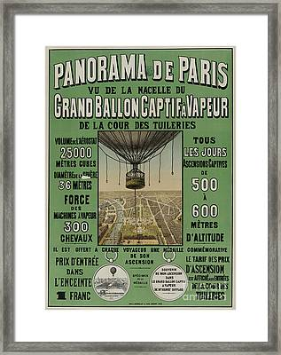 Framed Print featuring the photograph Vintage Poster Of Great Balloon View Of Paris 1878 by John Stephens
