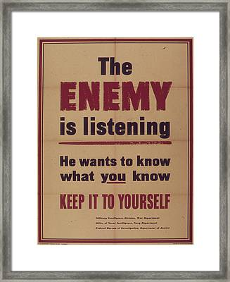 Vintage Poster - The Enemy Is Listening Framed Print by Vintage Images