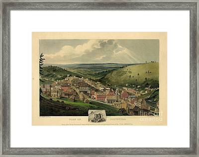 Vintage Pottsville Pennsylvania Etching With Remarque Framed Print by John Stephens