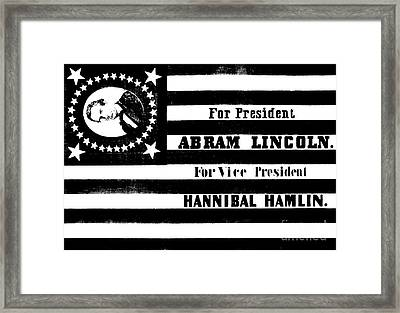 Vintage Presidential Campaign Flag Of Abraham Lincoln For President Framed Print by American School