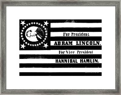 Vintage Presidential Campaign Flag Of Abraham Lincoln For President Framed Print