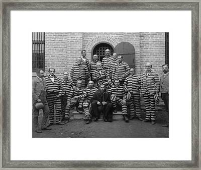 Vintage Prisoners In Striped Uniforms - 1889 Framed Print