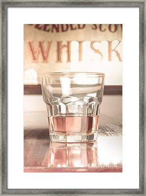 Vintage Pub Whisky On Old Wooden Counter Framed Print by Jorgo Photography - Wall Art Gallery