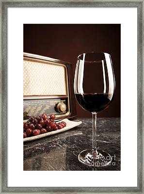Vintage Radio Grapes And A Glass Of Red Wine Framed Print