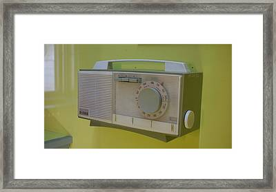 Vintage Radio With Lime Green Background Framed Print