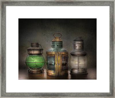 Vintage Railroad Oil Lamps Framed Print by David and Carol Kelly