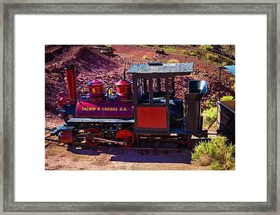 Vintage Red Calico Train Framed Print