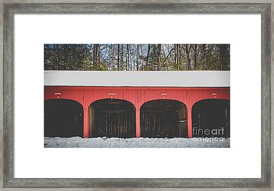 Vintage Red Carriage Barn Lyme Framed Print by Edward Fielding