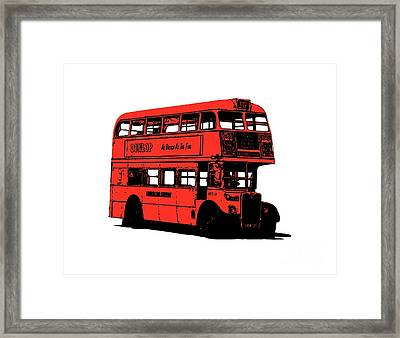 Vintage Red Double Decker London Bus Tee Framed Print by Edward Fielding