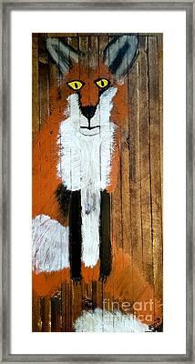 Vintage Red Fox Painting Framed Print by Scott D Van Osdol