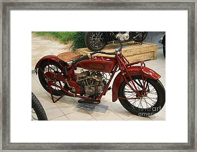 Vintage Red Indian Motorcycle   # Framed Print by Rob Luzier