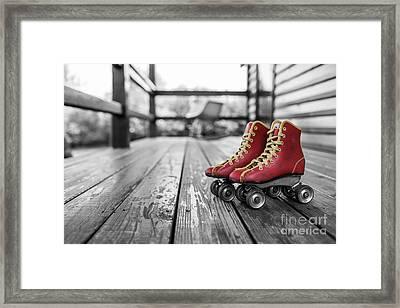 Vintage Red Roller Skates Framed Print