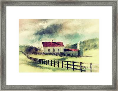 Vintage Red Roof Barn Framed Print by Lois Bryan
