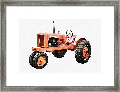 Vintage Red Tractor Painting Framed Print by Edward Fielding