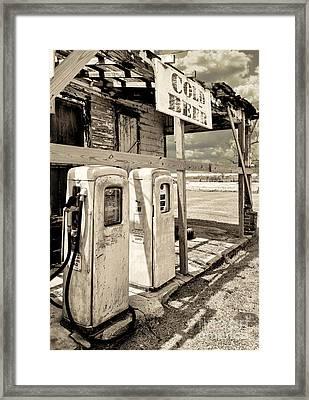 Vintage Retro Gas Pumps Framed Print