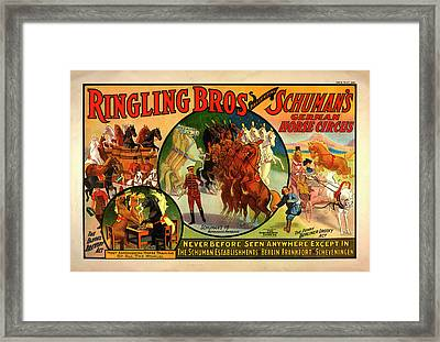 Vintage Ringling Bros Presenting Schuman's German Horse Circus Poster Framed Print by Mark Kiver