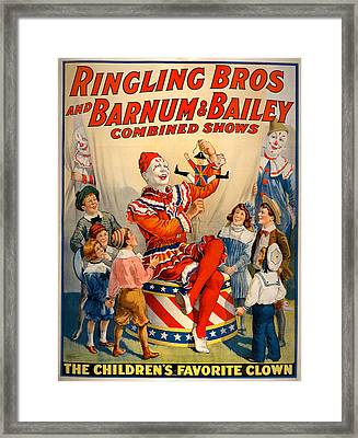 Vintage Ringling Brothers And Barnum And Bailey Combined Shows Cir Framed Print