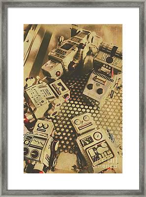 Vintage Robot Charging Zone Framed Print