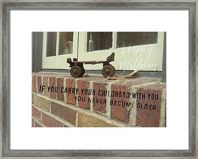 Vintage Roller Skate Quote Framed Print by JAMART Photography