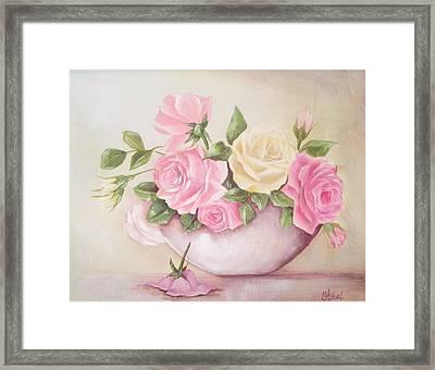 Vintage Roses Shabby Chic Roses Painting Print Framed Print