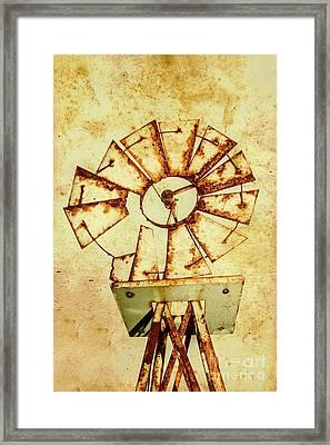 Vintage Rusty Farm Windmill Framed Print by Jorgo Photography - Wall Art Gallery