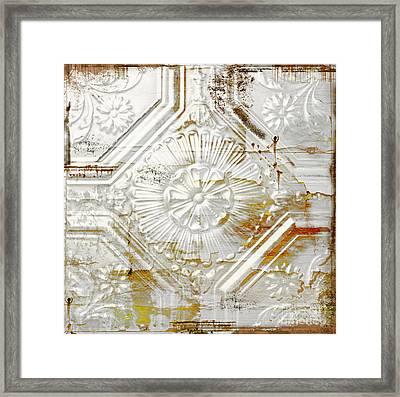 Vintage Rusty Tin Ceiling Tile Framed Print